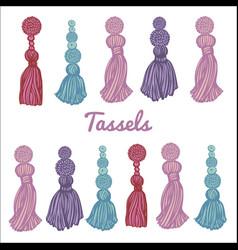 Set beautiful multi-colored tassels on white vector
