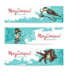 Set of Christmas Hand drawn banners vector image