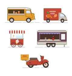 Set of street food transport vector