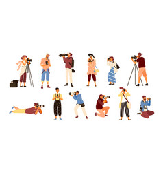 Set of various photographers holding photo camera vector