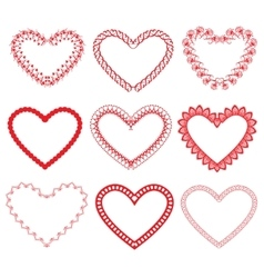 Set of vintage ornamental hearts shapes vector image