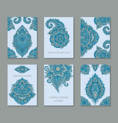 set six cards or flyers with abstract henna vector image