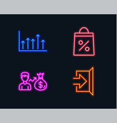 shopping bag sallary and growth chart icons exit vector image
