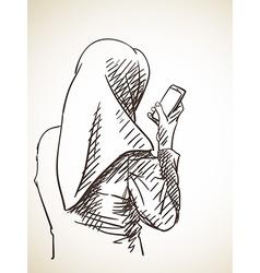 Sketch muslim woman using smart phone back view vector