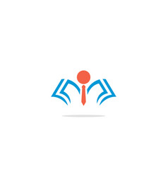 Student open book knowledge logo vector