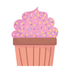 Sweet cupcake pastry food cartoon icon style vector