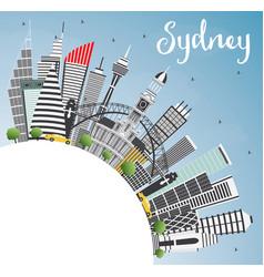 Sydney australia city skyline with gray buildings vector