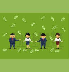 team of asian business people holding dollar vector image