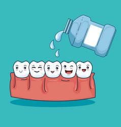 Teeth hygiene halthcare with mouthwash medicine vector