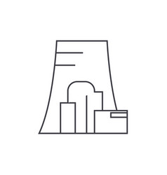 Thermal power plant thin line icon concept vector