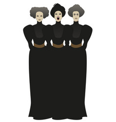 Three disturbing women dressed vector