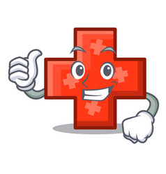 thumbs up cross character cartoon style vector image