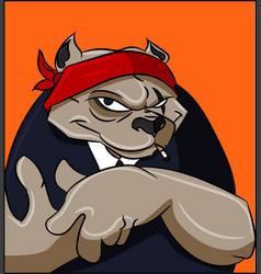 tough bandana bulldog with attitude gangsta vector image