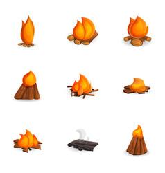 tourism campfire icon set cartoon style vector image
