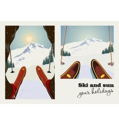 Vintage poster two pictures skier vector