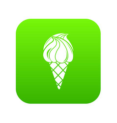 wafer ice cream icon green vector image