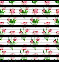 Watercolor spring floral background with stripes vector