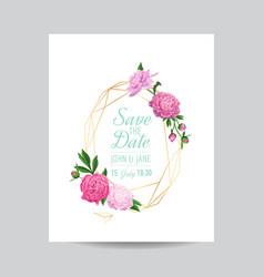 Wedding invitation floral template pink peonies vector
