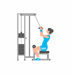 Woman doing heavy weight exercise for back vector