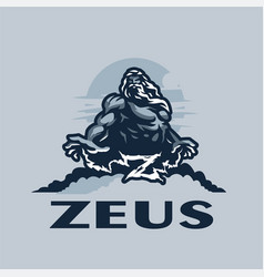 Zeus god on a mountain among clouds vector