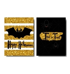 Happy Halloween Black bat on a golden background vector image vector image