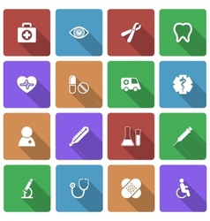 Medical Icons Set with Long Shadow vector image