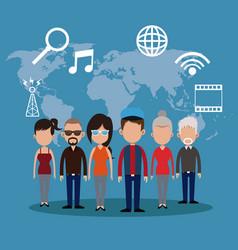 people communication network world vector image
