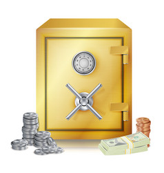 safe and money stacks metal coins vector image