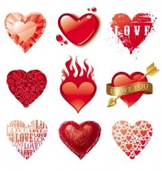 vector set of hearts vector image vector image