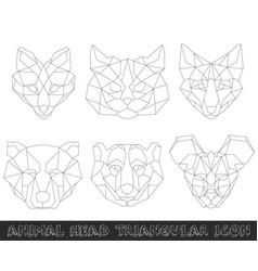 Animal head triangular icon-geometric line design vector