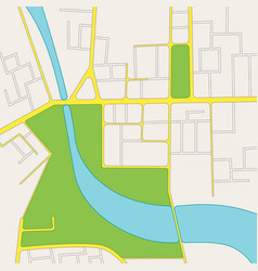 Cartoon road city map of district vector