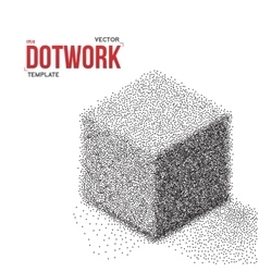 Dotwork Halftone Cube Icon Tattoo Style vector image