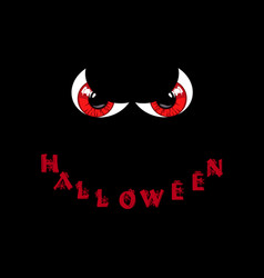 Halloween card red predatory monster eyes and vector