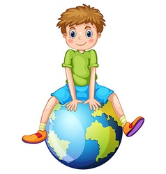 Little boy sitting on blue planet vector image vector image