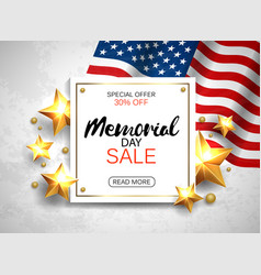 memorial day sale banner with flag and golden vector image vector image