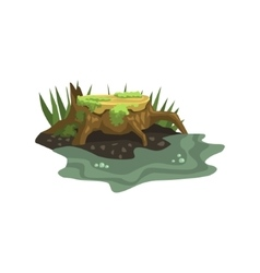Old Stump Submerged In Water Jungle Landscape vector image vector image