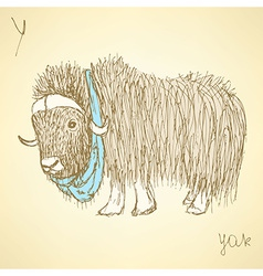 Sketch fancy yak in vintage style vector image vector image