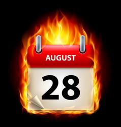 twenty-eighth august in calendar burning icon on vector image vector image