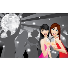 Two women smiling with beverage glasses in a night vector image
