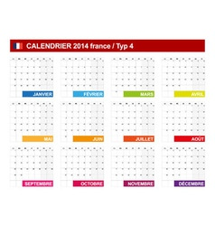 Calendar 2014 French Type 4 vector image vector image