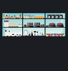 glamour cosmetics make up on shelf vector image vector image