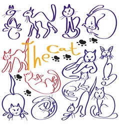 a lot of cats vector image vector image