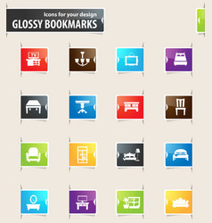 furniture bookmark icons vector image