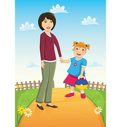 Mother and Daughter vector image vector image