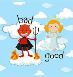 opposite word for bad and good with angel and vector image