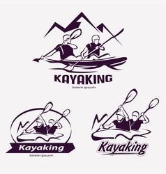 set of kayaking templates for labels emblems vector image vector image