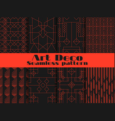 Set of seamless patterns of art deco lines and vector