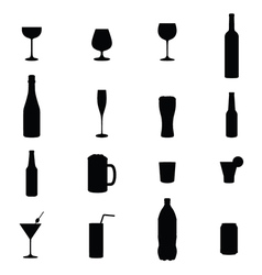 Set Of Sixteen Drink Black Silhouettes vector image vector image
