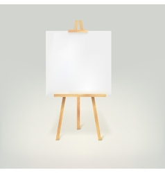 Wooden tripod with a white sheet of paper vector image vector image