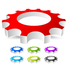 3d gear gearwheel icon in 7 bright colors vector image